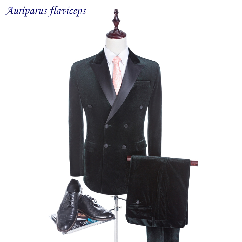 New Design Velvet Groom Tuxedos Groomsman Suit Wedding suit Double Breasted Custom Made 2019 Man Suits (Jacket+pants)