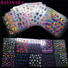 30 Sheets Top Quality 3D Adhesive Flowers Colors Nail Art Nails Stickers Vinyls Transfer Colorful Decals --NTL-36