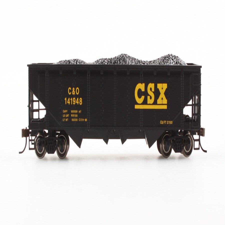 HO série simulation roue en métal 40 pieds quatre déchargement charbon trémie voiture-CSX train modèle pour enfants jouet