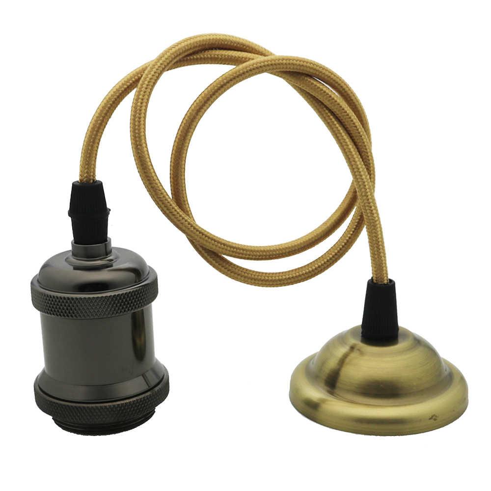 Vintage Edison lampa wisząca uchwyt na E27 śruba podstawa żarówki aluminium mosiądz lampa gniazdo przemysłowe Retro armatura uchwyty na lampy wisiorek