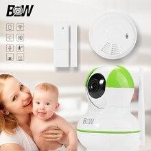 Cámara de seguridad IP Wi-Fi 2 Way Audio Cámara de Red IP Inalámbrico + Sensor de Puerta/Detector de Humo WiFi Cámara de Vigilancia BW12GR