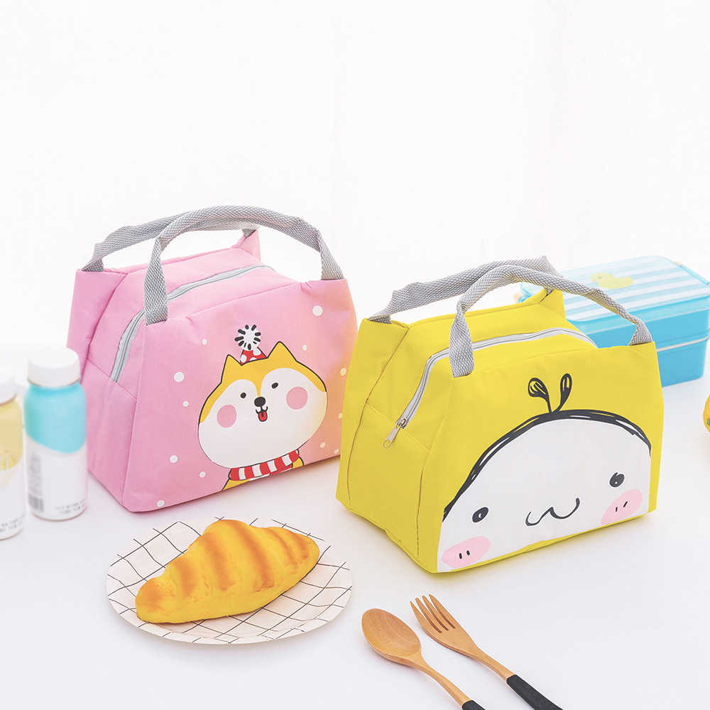 Thermal Insulated Lunch Box Tote Food Container Picnic Bag Cartoon Cute Lunch Bag For Women Girl Kids Children Milk Bottle Pouch
