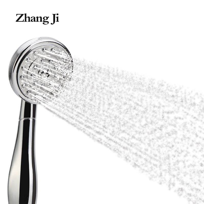 ZhangJi Free Shipping New handheld shower filter Water saving Round bath hand shower Chromeplate abs big holes Shower Head ZJ045