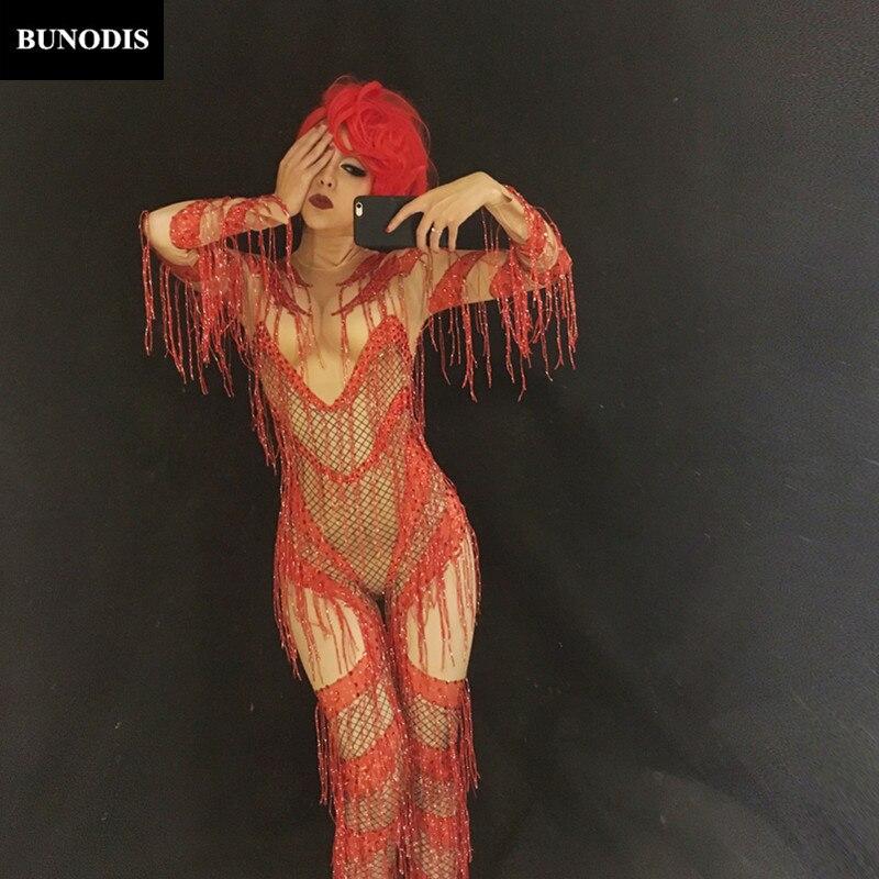 Bling Porter Mousseux Costume Gland Vêtements Salopette Bu088 Femmes D'anniversaire Performance Discothèque Stage Sexy Danseur Fête Rouge nO0AnUWH
