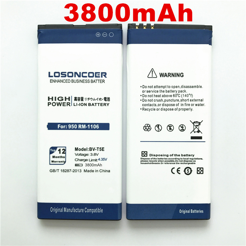 LOSONCOER Battery Microsoft Lumia 950 3800mah 100%Original For 950/Battery/Rm-1106/..