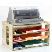 Thicken File Holder Wooden Desktop Multi layer 4 Grid Office Bookshelf A3 Paper Storage Box Information Box A4 Printer Rack