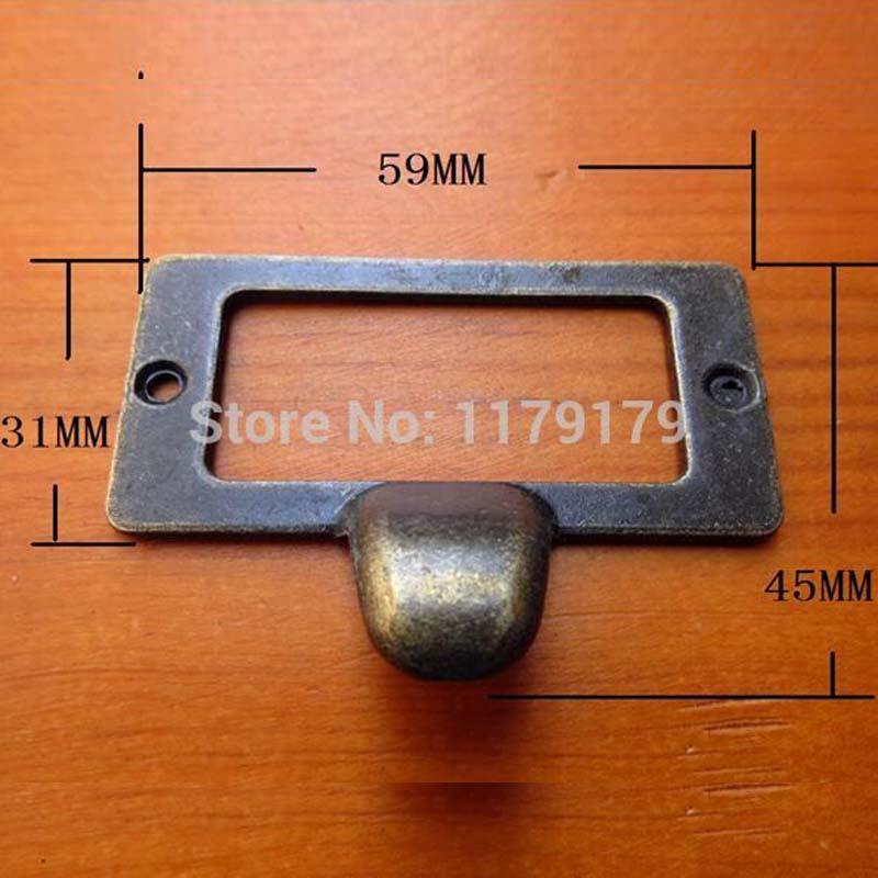 59*45mm High Quality Cheaper Antique Brass Cabinet Hardware Vintage Card  Holder Drawer Pull Label