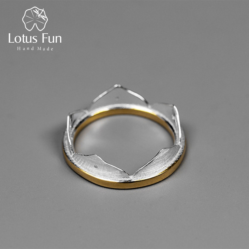 Lotus Fun Real 925 Sterling Silver Natural Creative Handmade Fine Jewelry Minimalist Lotus Flower Rings For Women