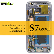 Super AMOLED For Samsung S7 LCD Dispaly With Frame With Touch Screen Assembly For Samsung S7 G930F LCD Screen lq070y3dg03 lcd dispaly screen
