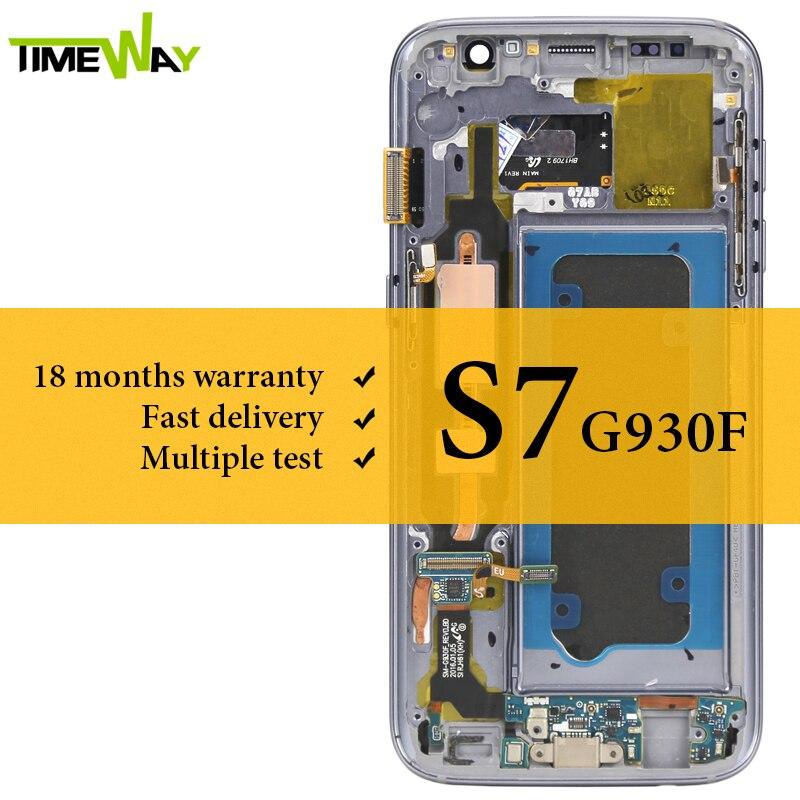 Super AMOLED Per Samsung S7 LCD Dispaly Con Telaio Con L'assemblea di Schermo di Tocco Per Samsung S7 G930F Schermo LCD