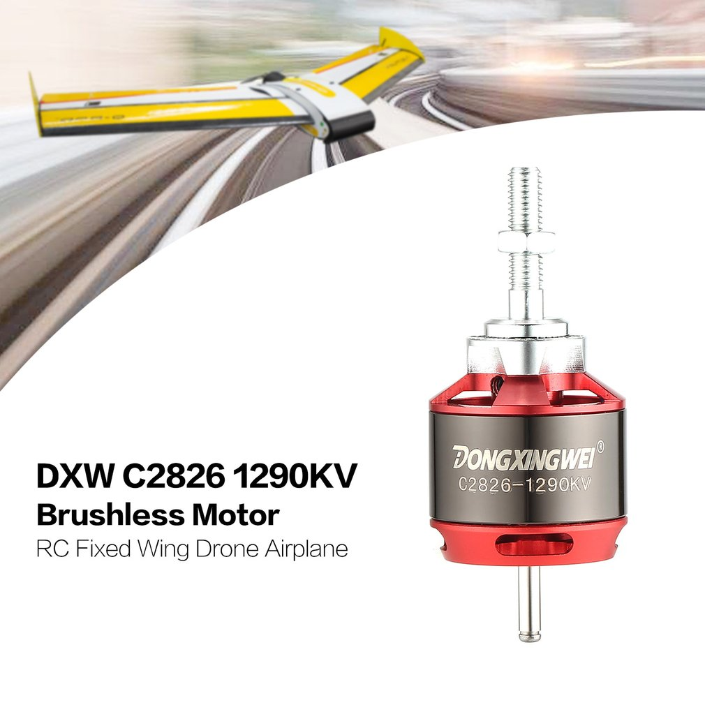 DXW C2826 2826 1290KV 2-4S 5mm Outrunner Brushless Motor for RC FPV Fixed Wing Drone Airplane Aircraft 1290 Propeller 4 sets lot rc accessories brushless motor parts propeller adapter 1 5mm 2 0mm 3 0mm prop saver with rubber band o ring