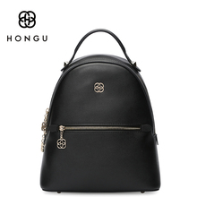 HONGU Famous Brand Cow Leather Bags Women Backpack Shoulder Top-Handle Bags Anti theft Backpack Beach Bag For Girls Cute Leisure