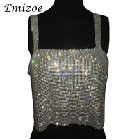 Emizoe Sexy Handmade Bling Bling Rhinestone Camis Women Fashion Jewelry Party Club Tops 2017 Hollow Out
