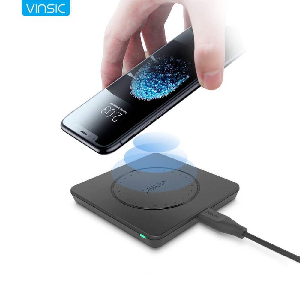 Vinsic Qi Wireless Charger Wireless Charging Pad for iPhone X 8 8 Plus Samsung Galaxy S8 S8+Note 8 Nexus 7 6 Nexus Lumia 920