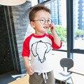 Niños bebés Ropa Casual de Manga Larga T-shirt Girls Elefante de la Historieta Tops Ropa Para Niños