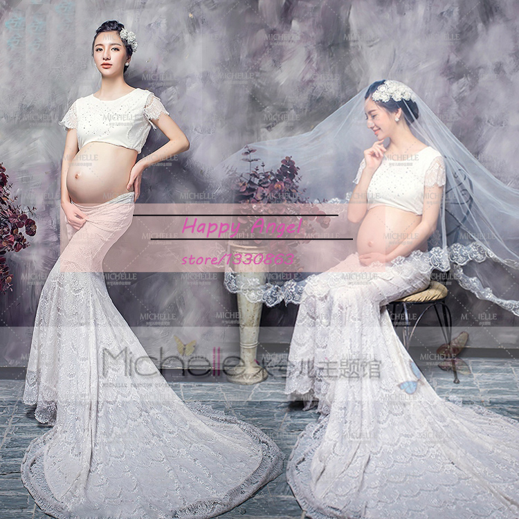 Programe noi de fotografie de maternitate Prognoza Femei gravide Elegant rochie Fancy Pure White Mermaid Set Photo Shoot Baby Shower Free Dimensiune