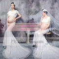 New Maternity Photography Props Pregnant Women Elegant Fancy Dress Pure White Mermaid Set Photo Shoot Baby Shower Free Size
