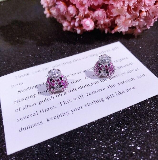 100% 925 argent Sterling argent coloré Zircon petites boucles d'oreilles pour bébé filles mignon cristal insecte boucle Huggies Earriing - 2