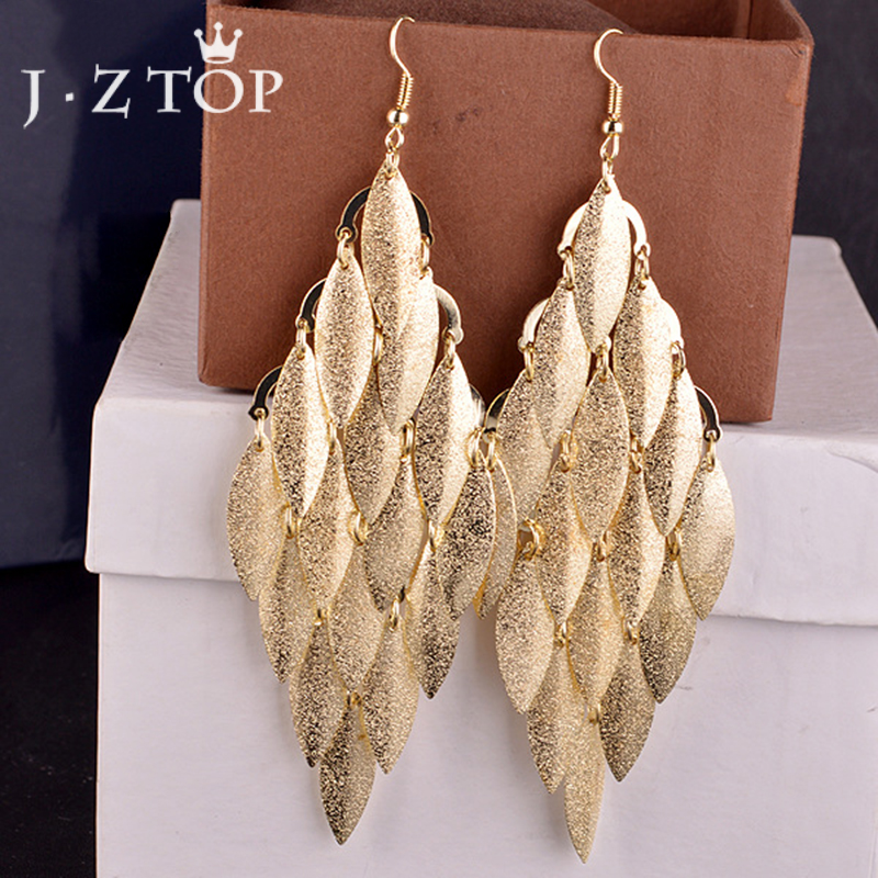 Jztop Luxury Multi Layer Frosted Leaf Tassel Dangle Earrings Woman Retro Sequin Gold/Silver Color Long Drop Earring Punk Jewelry