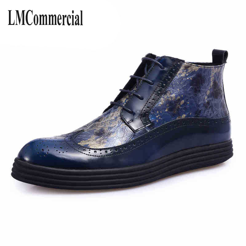 The fall of New England fashion casual leather shoes soled shoes Bullock carved goods factory