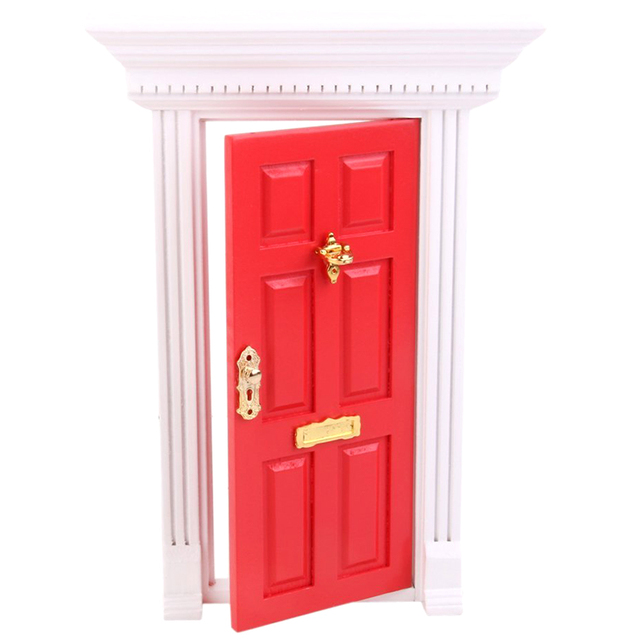 Superbe 1/12 Dollhouse Miniature Luxury Wooden Red Exterior Door 6 Panel W Key