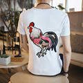 Brand New Men T Shirt Summer 2017 Short Sleeve Mens T-Shirts Korean Slim Fit Chicken Embroidery Tee Shirts Homme Tops Male 5XL-M