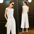 plaid grey black white pants suit women 2 piece set off shoulder cropped tops and wide leg trousers 2016 fashion summer costumes