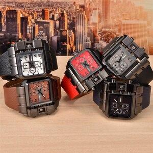 Image 5 - Oulm Brand Original Unique Square Design Men Sport Wristwatch Big Dial Casual PU Leather Strap Quartz Men Watch reloj hombre