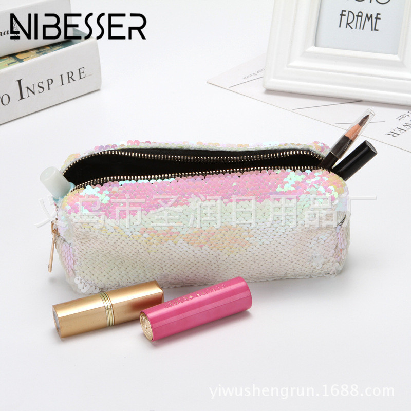 NIBESSER Stylish Sequins Cosmetic Bag High Quality Double Color Sequins Handbag Evening Bag Makeup Pouch Female Pen Pencil Bags big capacity high quality canvas shark double layers pen pencil holder makeup case bag for school student with combination coded lock