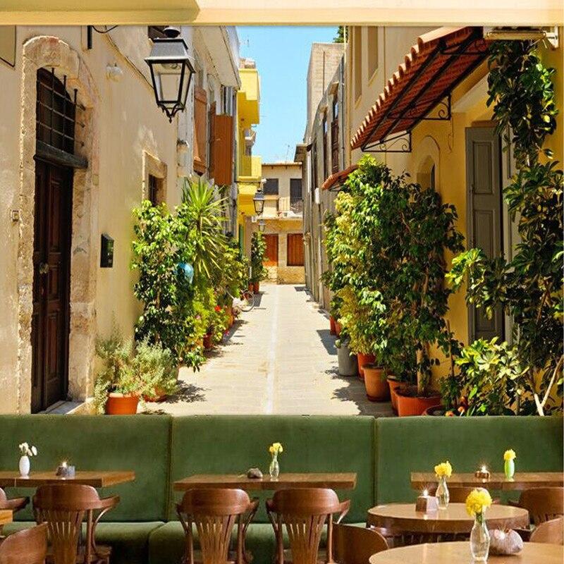 Фотообои в европейском стиле Sunshine City Street, для кафе, ресторана, гостиной, настенный Декор для дома, современный простой 3D Настенный декор