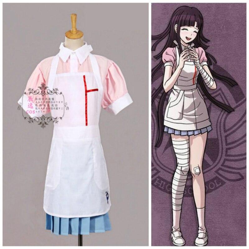 Free Shipping Dangan Ronpa 2 Danganronpa cos Mikan Tsumiki Cosplay Costume Maid Outfit Nurse Dress Custom Made