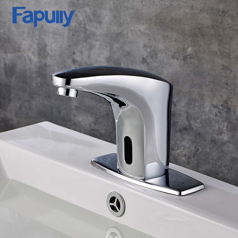 Fapully Automatic Inflrared Sensor Tap Touch-less Deck Mounted Automatic Hands Touch Free Sensor Faucet Bathroom Water Faucet chrome lavatory bathroom faucet wall mounted sensor faucet automatic hands free touch sensor bathroom sink tap faucet
