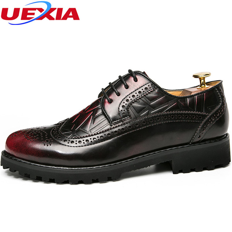 UEXIA Carving Flower Brogue Leather Dress Bullock Wedding Oxfords Shoe Men Lace-up Designer Luxury Men Shoes Formal Party Offic