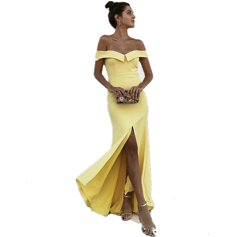 Boat Neck Off The Shoulder Side Slit Satin Pleated Court Train Mermaid   Bridesmaid   Gowns Sexy   Bridesmaid     Dresses   Fast Shipping