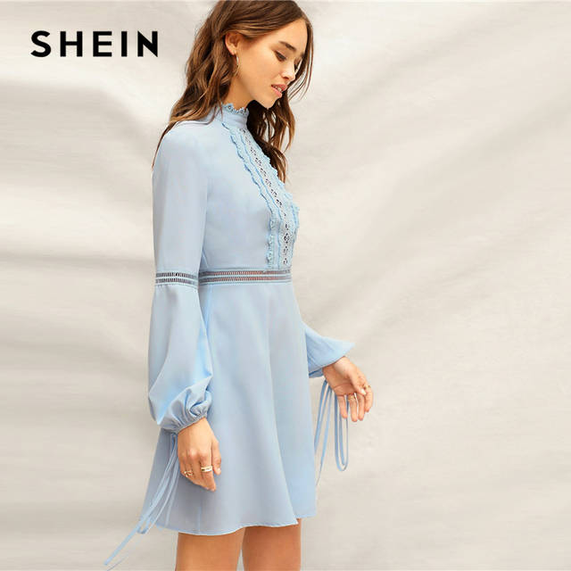 454f2e53424 US $19.0 45% OFF|SHEIN Blue Mock Neck Guipure Lace Detail Lantern Sleeve  High Waist Elegant Dress Women Spring Romantic A Line Flared Dresses-in ...