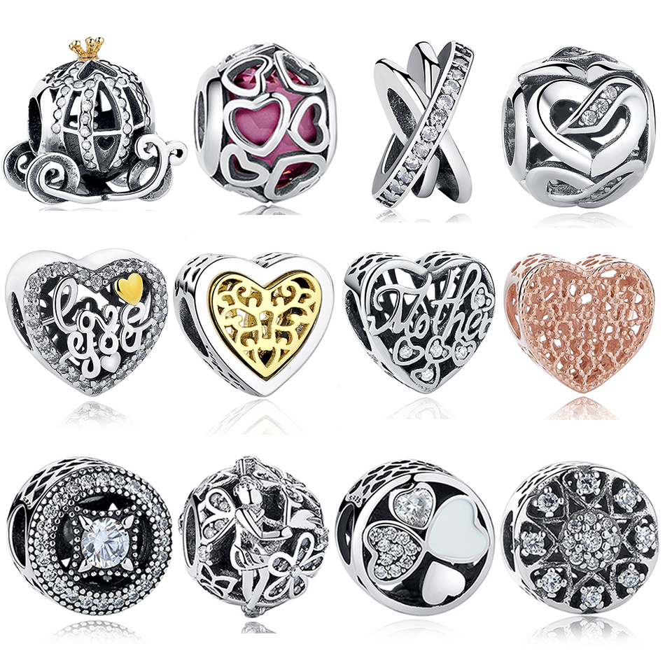 EVOJEW 925 Sterling Silver Crystal Pumpkin Car Heart Beads Trendy Animal Charm Fit Pandora Original Bracelet Women Jewelry