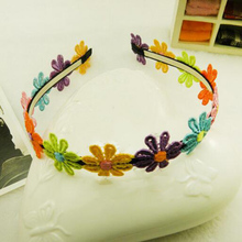 Free Shipping New Cute Children Baby Hair Band Girl Colorful Sunflower Lace Flowers Headband Fashion Accessory High Quality Gift