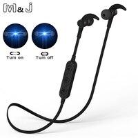 M & J Cuffie Bluetooth Intelligente On/Off Magnetico Auricolari auricolare Senza Fili con Microfono Sweatproof Auricolare Stereo