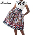 Dear lover New 2017 Reddish African Print Skirt New Spring Summer Ladies Vintage High Waist Skirts  Saias Midi Modas LC65014