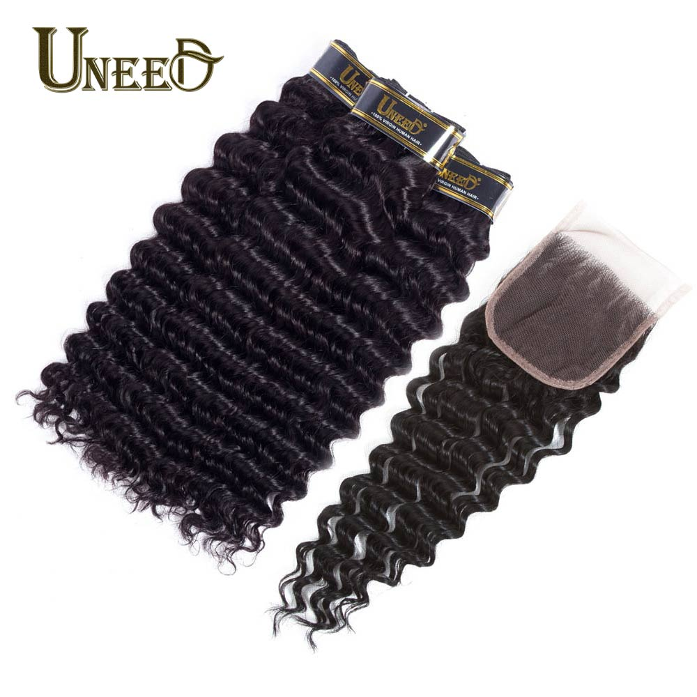 Uneed Hair Malaysian Deep Wave With Closure Remy Human Hair Wave 3/4 Bundles With Closure Human Hair Weave Bundles With Closure