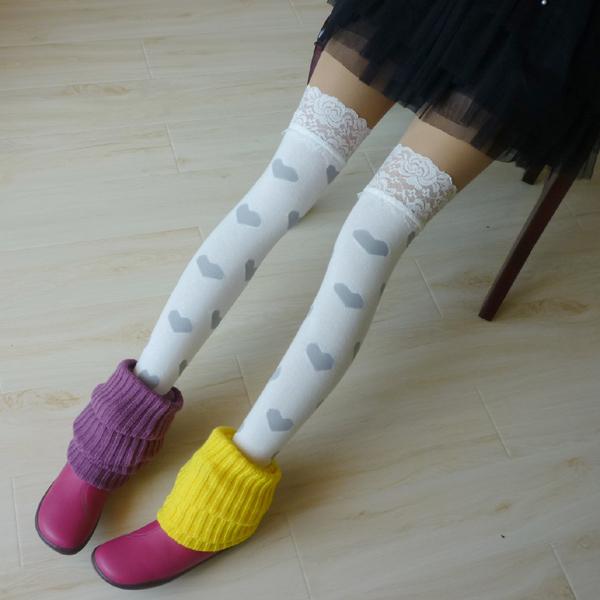 Princesa gótica de lolita medias Japonés estudiante campus estilo cordón del Amor hasta la rodilla de algodón medias GXW66