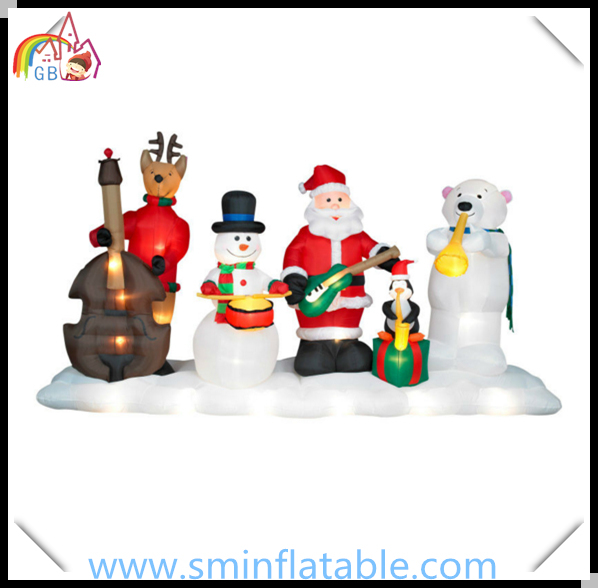 christmas inflatable santa band inflatable musical lighting show with snowman reindeer penguin bear for yard decoration - Pre Lit Polar Bear Christmas Decoration Set Of 3