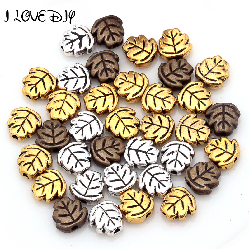 Wholesale 100 Pcs Tibetan Gold Bronze Silver Leaf Spacer Beads for DIY jewelry Findings 7mm
