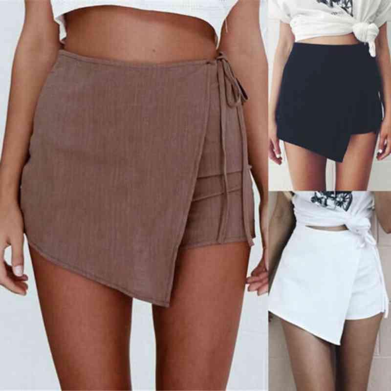 New Fashion Summer Women Casual Drawstring Shorts Skirt Slim Bottoms High Waist Beach Cotton Hot Shorts S-XL
