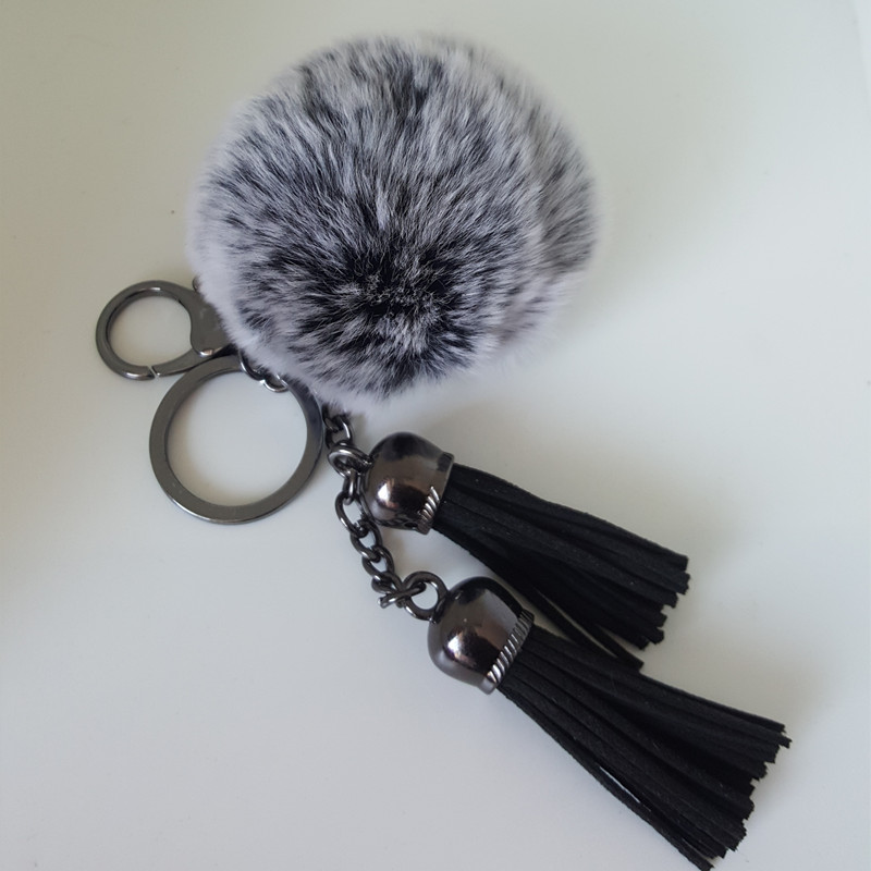 8 cm Fur pom keychain Fluffy fur ball bag charms Black double leather tassels handbag charm pom-pom keychais Porte Clef