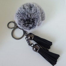 8 cm Fur pom pom keychain Fluffy fur ball bag charms Black double leather tassels handbag charm pom-pom keychais Porte Clef pom pom keychain with bell