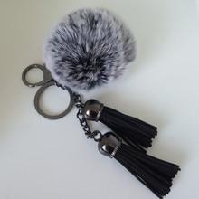 8 cm Fur pom pom keychain Fluffy fur ball bag charms Black double leather tassels handbag charm pom-pom keychais Porte Clef недорого