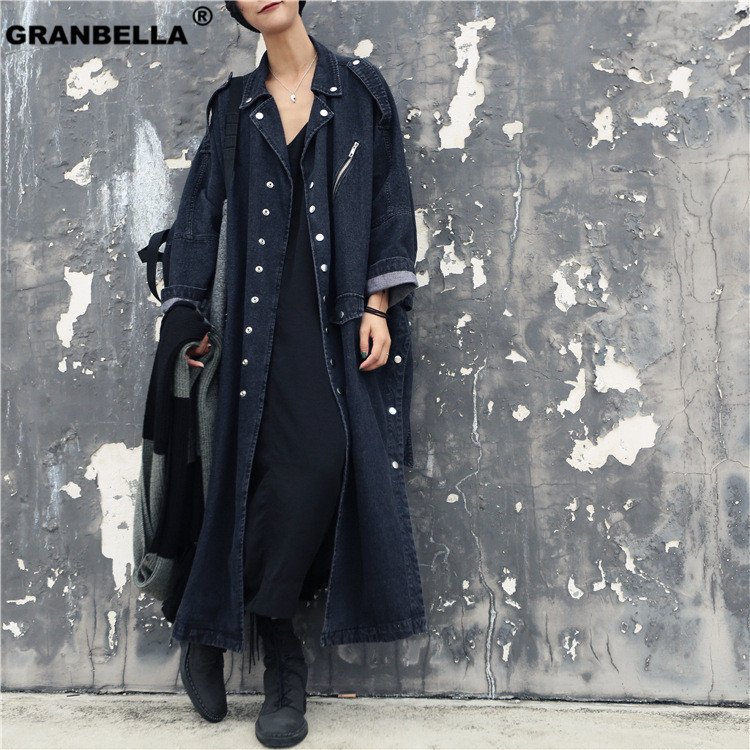 Europe Loose Washed Black Denim Windbreaker Spring and Autumn New   Trench   Coat For Women Plus Size Single-breasted Overcoat