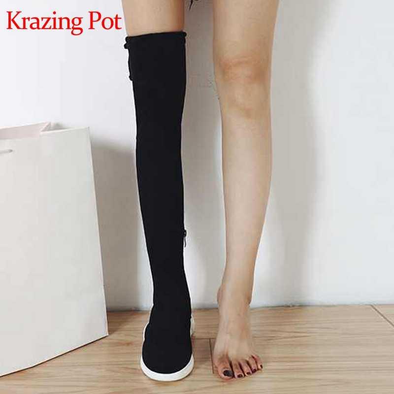 Krazing Pot akın yuvarlak ayak takozlar yüksek topuklu gladyatör kadın sıcak tutmak moda güzellik kız soba borusu diz çizmeler üzerinde l16