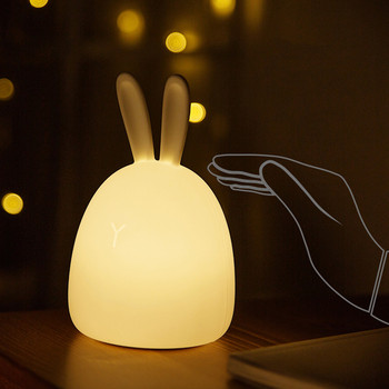 Touch Sensor Colorful Rabbit LED Night Light USB Rechargeable Cartoon Silicone Bunny Lamp for Children Kids Baby Bedroom Gift beiaidi big rabbit bear dimmable led night light cartoon bedroom desk table lamp for baby children kids birthday christmas gift